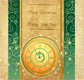 Happy New Year and Merry Christmas vintage background. With clock vector illustration