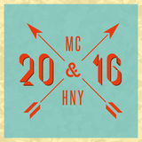 Happy New Year 2016 Merry Christmas vintage hipster greeting card, mockup old style poster, retro invitation Stock Images