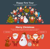 Happy New Year 2018 or Christmas Santa snowman cartoon web banners vector design template. Happy New Year or Merry Christmas web banners design template with Stock Photos