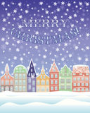 Happy New Year and Merry Christmas winter card. Vector illustration stock illustration