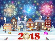 Christmas winter city street. Happy new year and merry Christmas winter old town street with trees. Christmas card with cityscape and fireworks. concept for Stock Photo