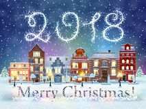 Christmas winter city street. Happy new year and merry Christmas winter old town street with trees. Christmas card with cityscape and 2018 sparklers. concept for vector illustration