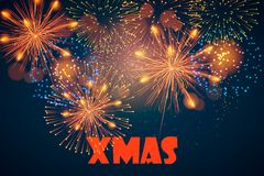 Happy New Year. Merry Christmas. XMAS. Postcard with festive fireworks. Vector illustration. Happy New Year. Merry Christmas. XMAS. Postcard with festive Royalty Free Stock Photos