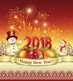 Happy New Year 2018. Happy New Year with merry snowmen and fireworks Stock Image