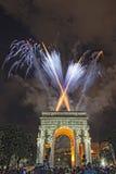 Happy new year and merry xmas fireworks on triumph arc. Happy new year fireworks on triumph arc in Genoa Italy Royalty Free Stock Photo