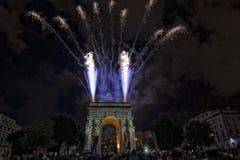 Happy new year and merry xmas fireworks on triumph arc. Happy new year fireworks on triumph arc in Genoa Italy Royalty Free Stock Image