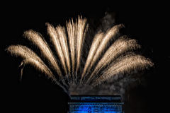 Happy new year and merry xmas fireworks on triumph arc Royalty Free Stock Photos