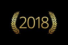 2018 A Happy New Year, merry xmas greetings with palms framed. Luxurious isolated golden round awards graduating sign 20, 1, 8, 18, 21 and 28 th numbers. Gold Stock Photography