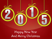 Happy new year and mery christmas 2015. Happy new year 2015 creative greeting card design Stock Image