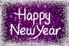 Happy New Year Message. Happy New Year Christmas Message on Purple Snow Background Stock Photos
