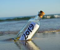 Happy New Year 2019, message in a bottle stock image