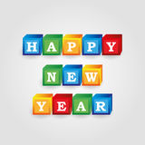 Happy new year message from color bricks with numbers eps10 Stock Photos