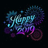Happy new year 2019 message with firework colorful at night stock illustration