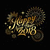 Happy new year 2018 message with firework gold at night Stock Image