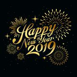 Happy new year 2019 message with firework gold at night concept stock illustration
