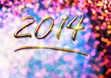 Happy new year 2014. Message from gold Royalty Free Stock Image