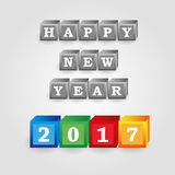 Happy new year 2017 message from gray and color bricks with numbers eps10 Stock Photos