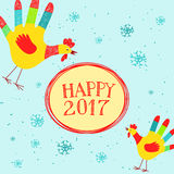 Happy New year message with hand printed roosters. Vector illustration with Happy New year message with cute hand printed roosters. Could be used as New Year Stock Photo
