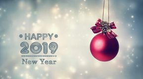 Happy New Year 2019 message with a hanging bauble royalty free stock images