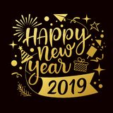 Happy new year 2019 message with icons gold design background royalty free illustration