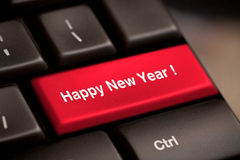 Happy new year. Message, keyboard enter key Stock Images