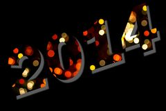 Happy 2014. Happy new year 2014 message over black background Royalty Free Stock Photography