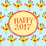 Happy New year message. Vector illustration with Happy New year message on a cute background with hand printed roosters. Could be used as New Year 2017 greeting Stock Image
