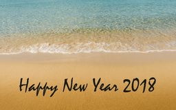 happy new year 2018 message written on idyllic tropical beach stock image image of horizontal decoration 102285829