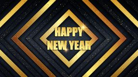 Happy New Year metal background with golden dust overlay texture vector illustration