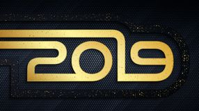 Happy New Year 2019 metal background with golden dust overlay texture. Happy New Year 2019 holiday metal banner. Abstract black and gold brushed metallic numbers royalty free illustration