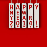 Happy new year 2014. On the metal labels, three-dimensional rendering Stock Photography