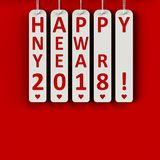 Happy new year 2018. On the metal labels, three-dimensional rendering, 3D illustration Stock Photo