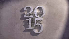 Happy New Year 2015 Metal Text Icon over Shaded Stone Background Stock Photos