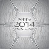 Happy new year metal volume. 2014 against the background of technological textures Royalty Free Stock Photography