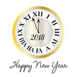 Happy new year metallic clock. Happy new year typography with metallic clock graphic stock illustration