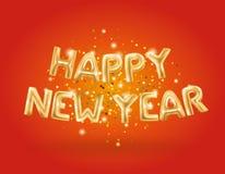 Happy new year Metallic Gold Balloons Stock Photography