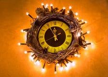 Happy New Year 2017 midnight clock Stock Photos