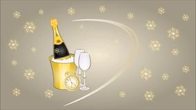 Happy New Year midnight drink and snowflakes silver background video stock video