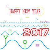 Happy New Year minimal style.. Happy New Year 2017 minimal line style. 2017 come, 2016 leave in wave. Vector illustration Royalty Free Stock Image