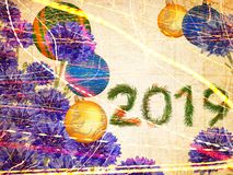 Happy New Year 2019. Miracle blue flowers night dreams. Happy New Year 2019. Holiday baubles and fresh miracle blue flowers. Lovely bouquet. Old paper textured royalty free illustration