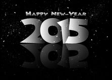 Happy new year 2015 mirrored in black. Royalty Free Stock Photography