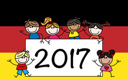 Happy new year 2017. Happy new year mixed ethnic children freedom Stock Photo