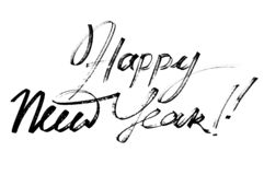 Happy New Year - Modern calligraphy royalty free stock photos