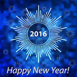 Happy New Year 2016 modern cover. Snowflake on blurred bokeh bac Royalty Free Stock Photography