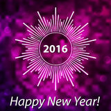 Happy New Year 2016 modern cover. Snowflake on blurred bokeh bac. Kground. Purple and pink soft colors stock illustration