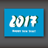 Happy New 2017 Year, modern design on blue background Royalty Free Stock Photo