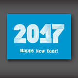 Happy New 2017 Year, modern design on blue background, year 2017 Royalty Free Stock Images