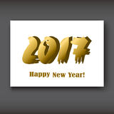 Happy New 2017 Year, modern design gold on white background Royalty Free Stock Photo