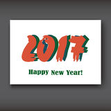 Happy New 2017 Year, modern design on white background. Year 2017 in brush stroke pattern  illustration Stock Images