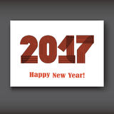 Happy New 2017 Year, modern design on white background. Year 2017 in thin lines striped minimalist, numbers written with a pen, vector  illustration Royalty Free Stock Photo